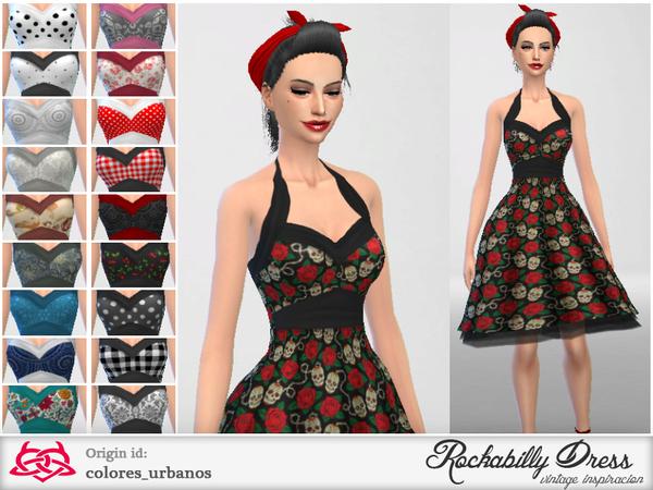 Sims 4 Rockabilly Dress v2 by Colores Urbanos at TSR