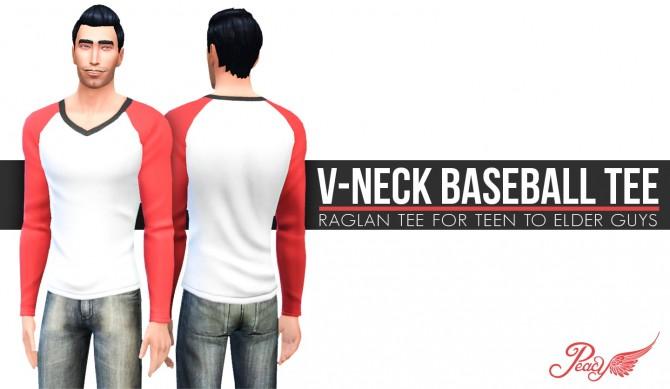 Sims 4 V Neck Baseball Tee at Simsational Designs
