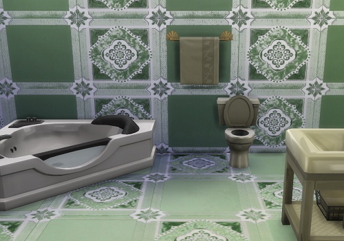 Dusty green wall and floor tiles set at Trudie55 image 9819 Sims 4 Updates