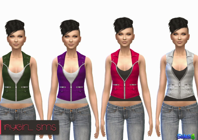 Sims 4 Pocketed Leather Vest with Tank at NyGirl Sims