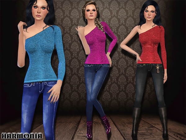 Sims 4 One shoulder Top / Skinny Jeans by Harmonia at TSR
