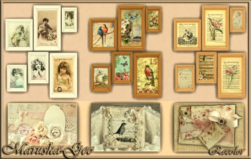 Sims 4 Shabby chic picture recolors at Maruska Geo