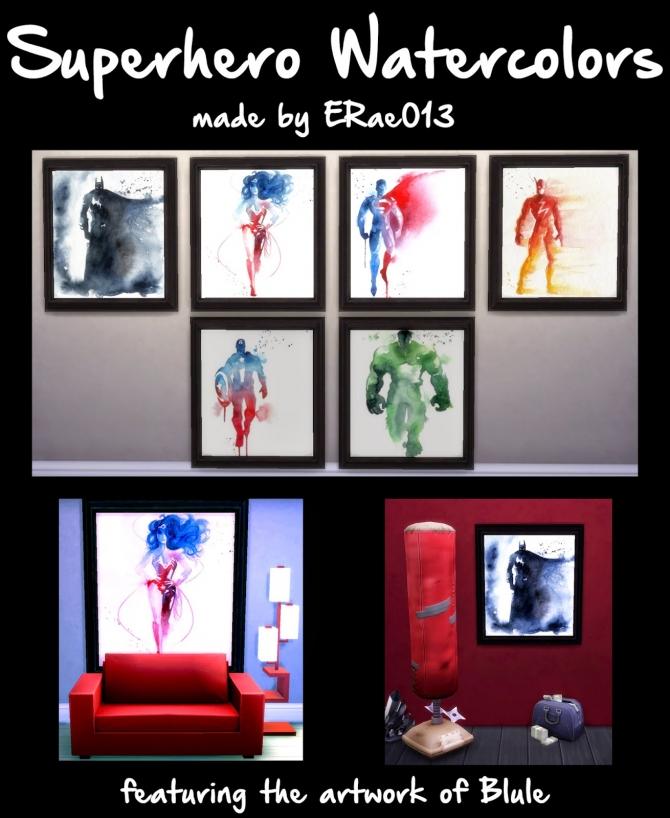 Sims 4 Superhero Watercolors by ERae013 at Adventures in Geekiness