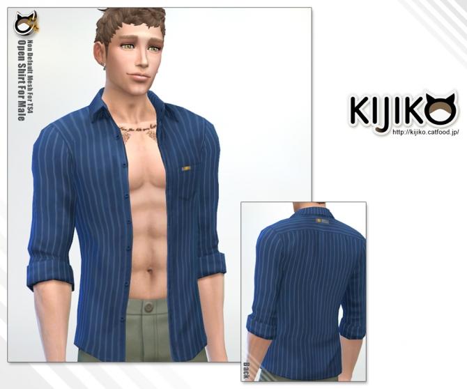 Open Shirt For Males At Kijiko 187 Sims 4 Updates