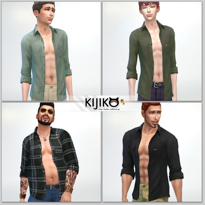 Sims 4 Open Shirt for males at Kijiko