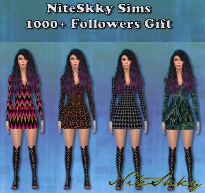 Dress, hair and nails at NiteSkky Sims image 108 Sims 4 Updates