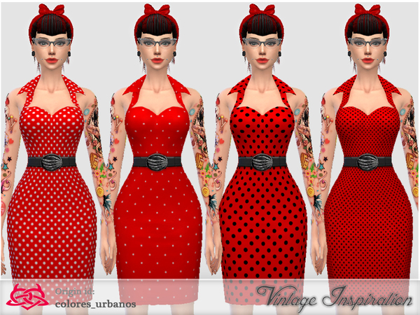 Recolor Pin Up dress lunares 1 by Colores Urbanos at TSR image 11 Sims 4 Updates