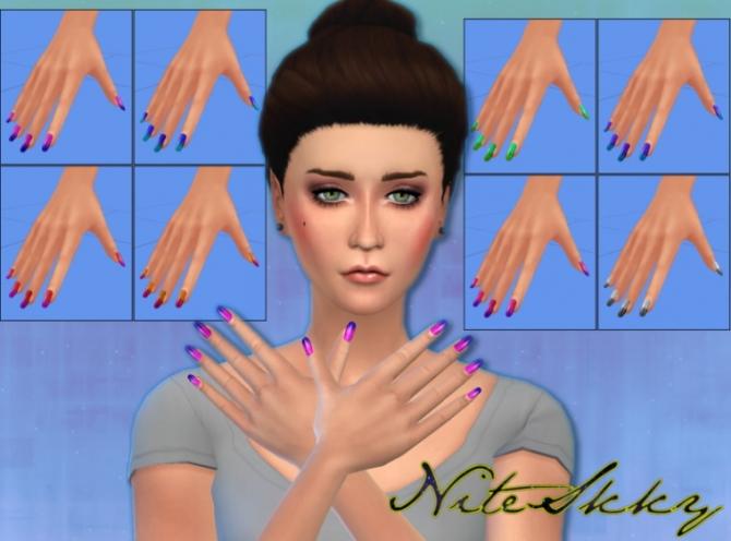 Sims 4 Dress, hair and nails at NiteSkky Sims