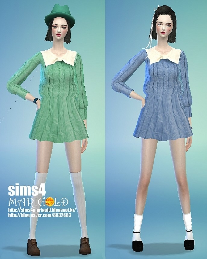 Sims 4 Ribbon knitted onepiece dress at Marigold
