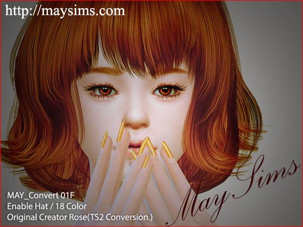 Sims 4 May Convert Hair 01F (Rose) at May Sims