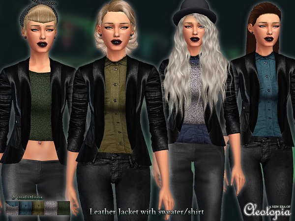 Cropped Leather Jacket with sweater/shirt by Cleotopia at TSR image 1115 Sims 4 Updates