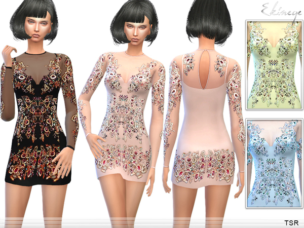 Crystal Bodycon Dress by ekinege at TSR image 1159 Sims 4 Updates