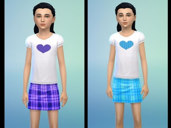Sims 4 Plaid Skirts and Heart Tops for girls by Tacha75 at Simtech Sims4