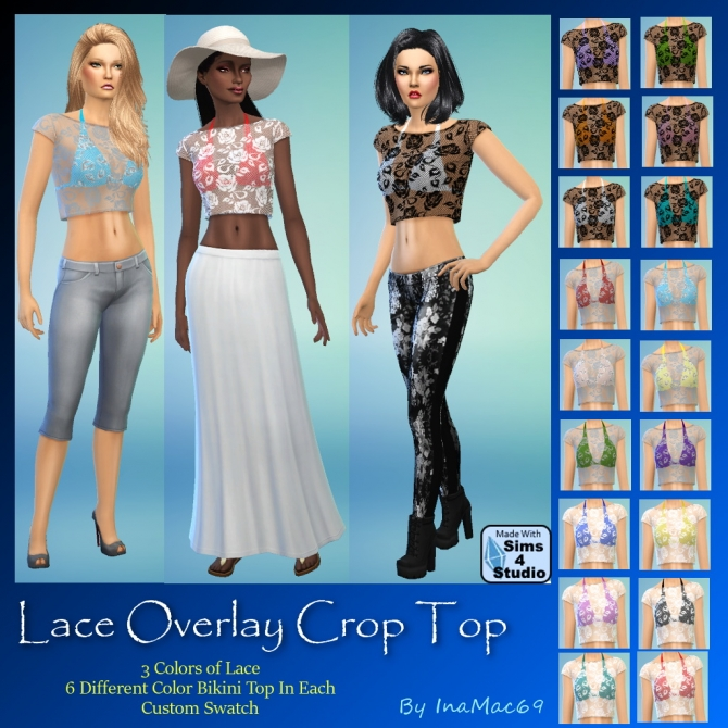 Sims 4 Lace Overlay Crop Top by InaMac69 at Simtech Sims4