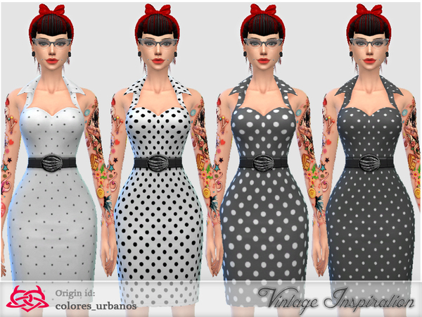 Recolor Pin Up dress lunares 1 by Colores Urbanos at TSR image 12 Sims 4 Updates
