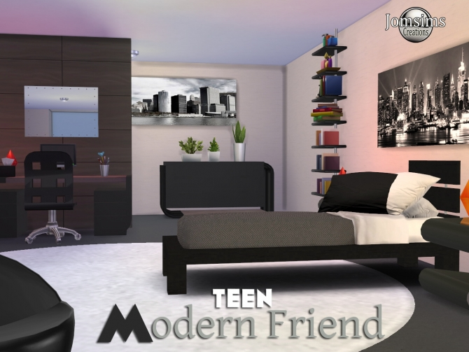 Modern friend bedroom at jomsims creations sims 4 updates for Bedroom designs sims 4