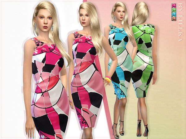Sims 4 Eccentric Dress by lillka at TSR
