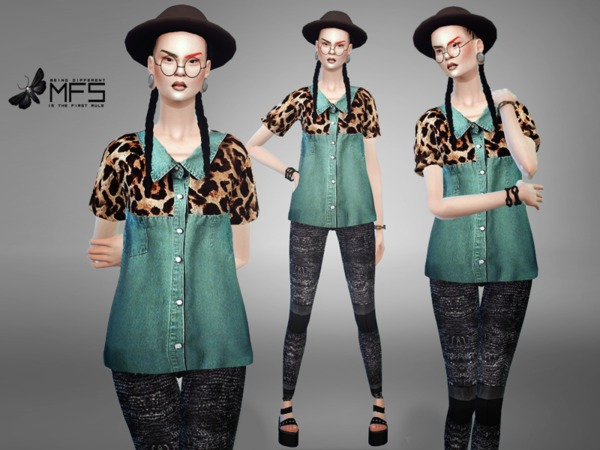 MFS Hipster Jungle Shirt by MissFortune at TSR image 1250 Sims 4 Updates