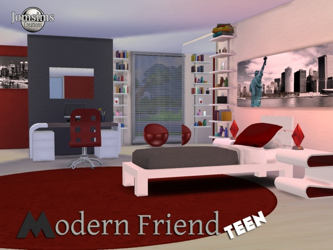 Modern friend bedroom at jomsims creations sims 4 updates for Photo de chambre ado fille