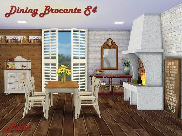 Dining brocante by pilar at tsr sims 4 updates for Dining room ideas sims 4