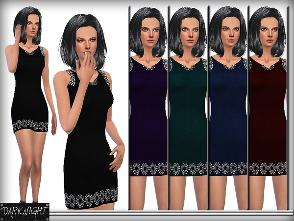 Embellished Stretch Dress by DarkNighTt at TSR image 1317 Sims 4 Updates