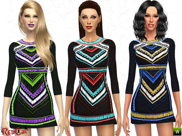 Sims 4 Embellished Mini Dress by RedCat at TSR