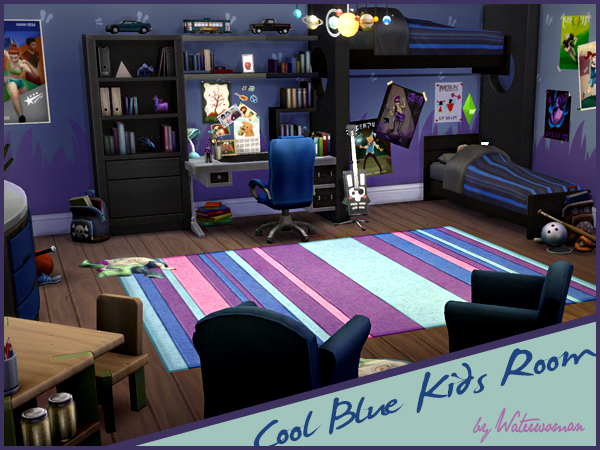 Sims 4 Cool Blue Kids Room by Waterwoman at Akisima