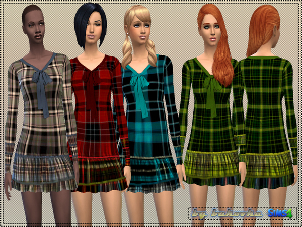 Sims 4 Dress Tartan by bukovka at TSR