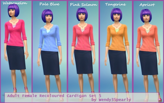 5 Recoloured Cardigans for Females by wendy35pearly at Mod The Sims image 1535 Sims 4 Updates