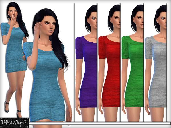 Tulle Fabric Mini Tight Dress by DarkNighTt at TSR image 1629 Sims 4 Updates
