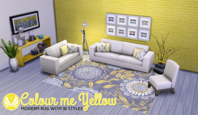 Colour Me Yellow Modern Rugs at Simsational Designs image 1661 Sims 4 Updates