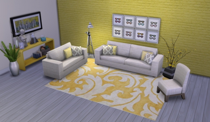 Colour Me Yellow Modern Rugs at Simsational Designs image 1671 Sims 4 Updates