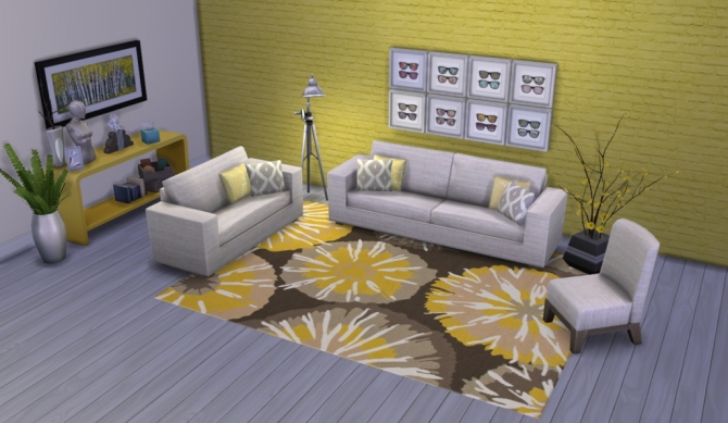 Colour Me Yellow Modern Rugs at Simsational Designs image 1681 Sims 4 Updates