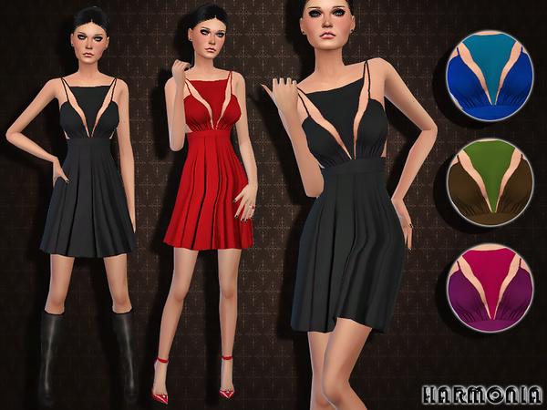 Sims 4 Draped Viscose Backless Mini Dress by Harmonia at TSR