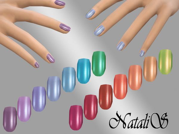 Sims 4 Rainbow short nail recolor by NataliS at TSR