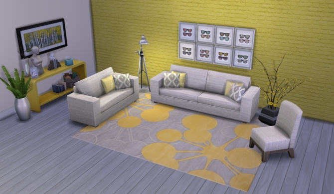 Colour Me Yellow Modern Rugs at Simsational Designs image 1751 Sims 4 Updates