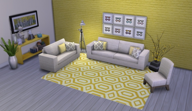 Sims 4 Colour Me Yellow Modern Rugs at Simsational Designs