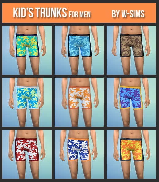 Sims 4 Trunks for boys at W Sims