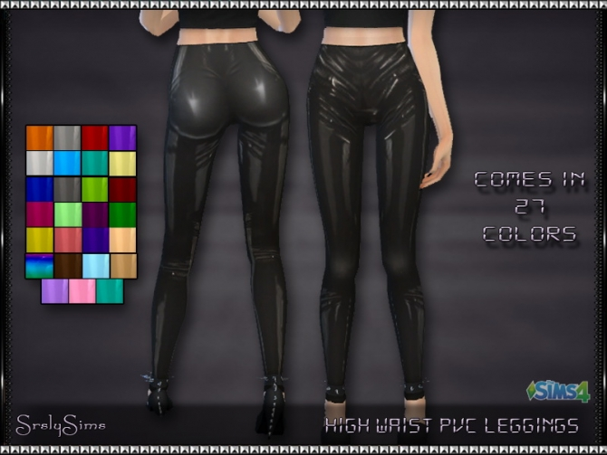 Sims 4 High Waist PVC Leggings at SrslySims