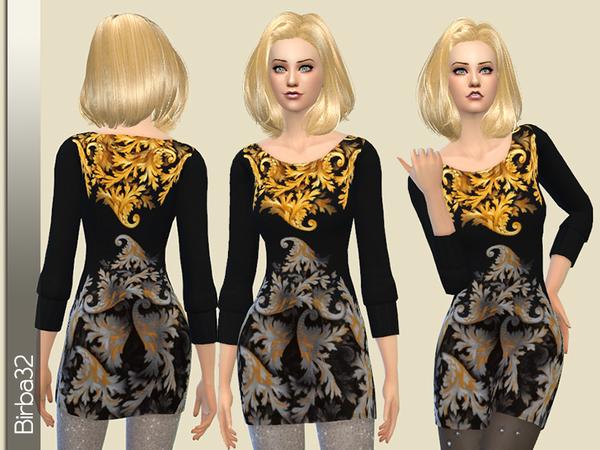 Wool mini dress by Birba32 at TSR image 1813 Sims 4 Updates