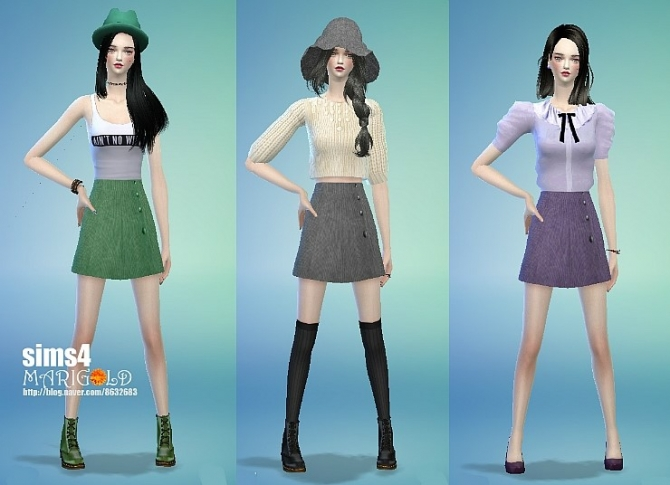 Sims 4 Button H line skirts at Marigold