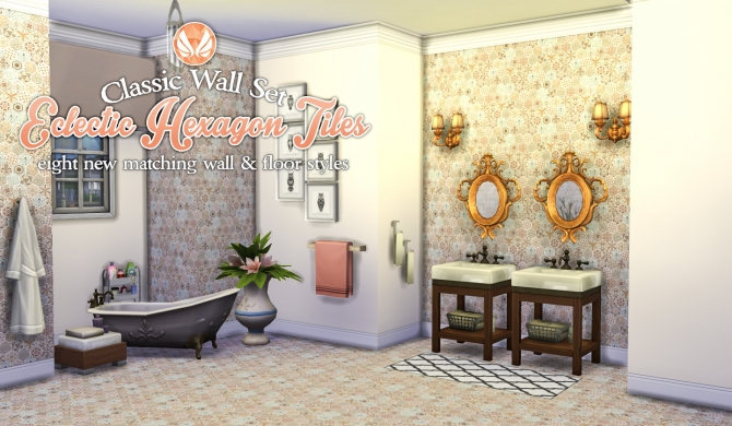 Sims 4 Eclectic Hexagon Tile Walls and Flooring at Simsational Designs