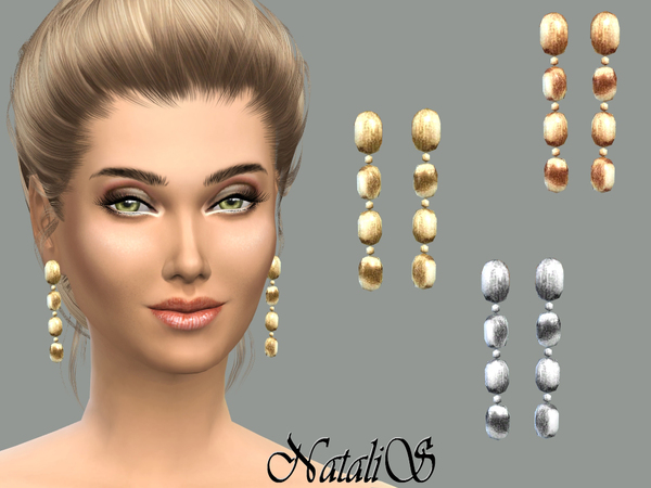 Brushed metal drop earrings by NataliS at TSR image 2181 Sims 4 Updates
