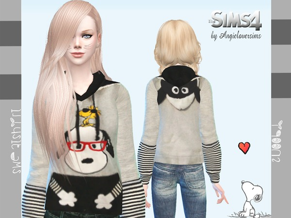 Snoopy Sweatshirt by Angie Lover Sims at TSR image 2323 Sims 4 Updates