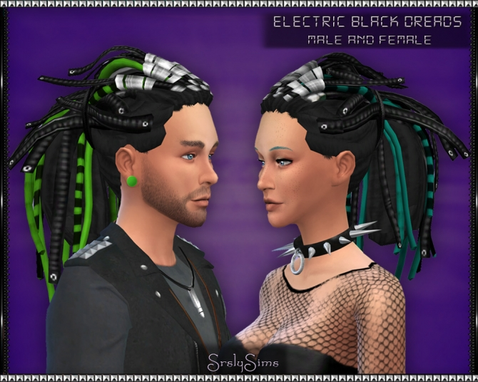 Sims 4 Electric 'Black' Dreads at SrslySims