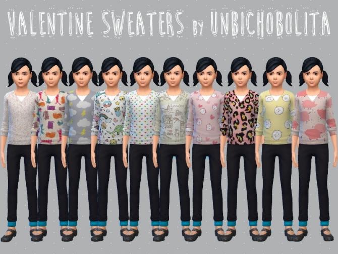 Sims 4 Valentine sweaters at Un bichobolita