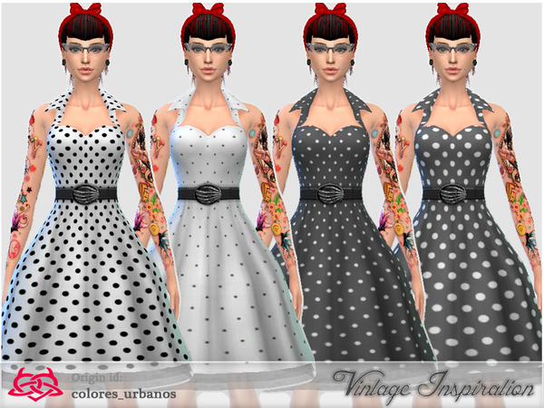 Recolor Rockabilly Dress4 lunares 1 by Colores Urbanos at TSR. Recolor Rockabilly Dress4 lunares 1 by Colores Urbanos at TSR