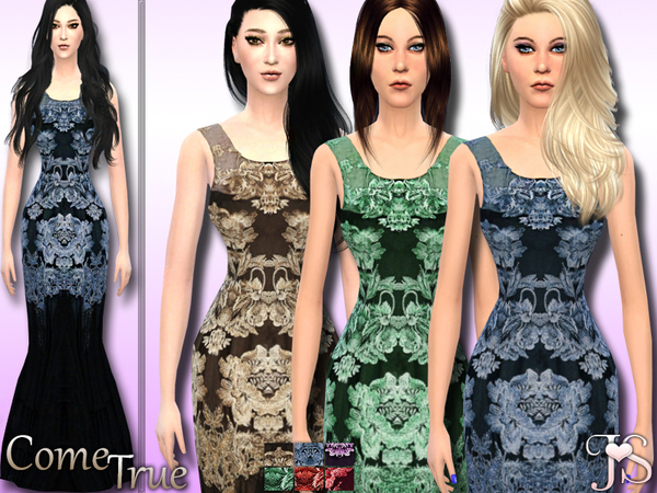 Sims 4 Come True Formal Dress by JavaSims at TSR