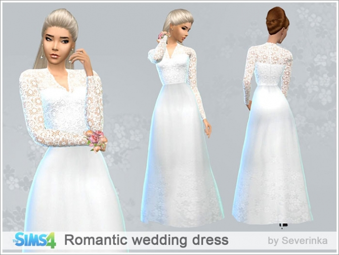 Romantic wedding dress at Sims by Severinka » Sims 4 Updates