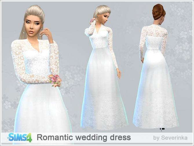 Sims 4 Romantic wedding dress at Sims by Severinka